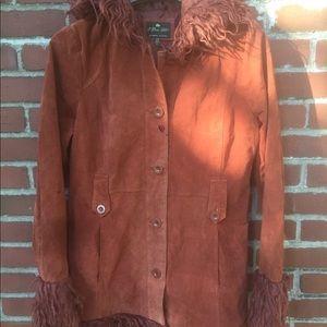 Burnt orange leather coat